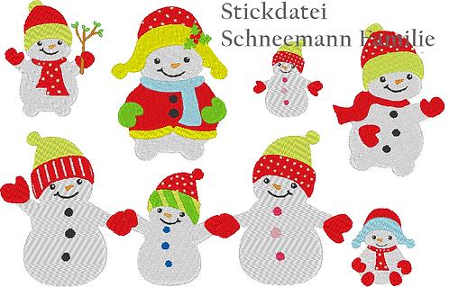 Schneemann Familie Stickdatei