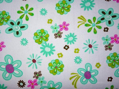 Blumen mint hellgrün Baumwolle
