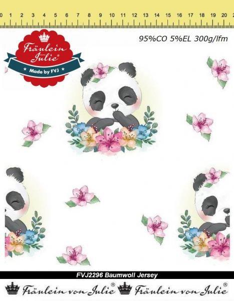Panda Blumen auf weiß Pandabär Jersey Fräulein von Julie Jersey Digitaldruck