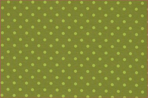 Punkte 5mm oliv hellgrün Jersey Baumwolljersey Meterware