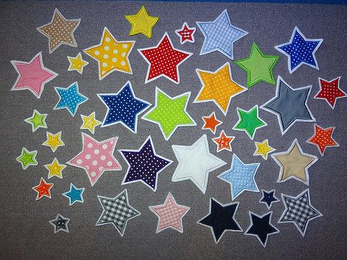 4 - 20 cm Stern in Wunschfarbe Applikation Handmade Patch Flicken XXL