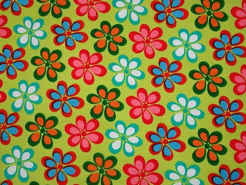 Blumen bunt auf hellgrün Mädchen Jersey Meterware Baumwolljersey