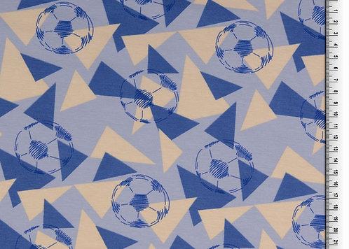 Fußball blau hellbeige Jungs Baumwolljersey Meterware Jersey