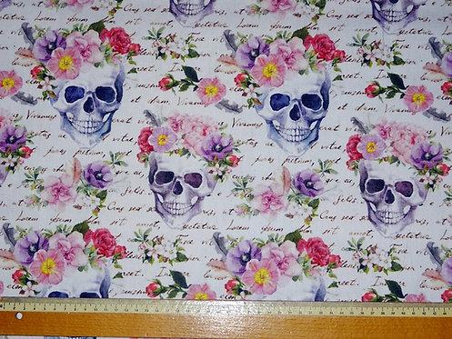 Canvas Skull Blumen bunt auf weiß Fräulein von Julie Taschenst