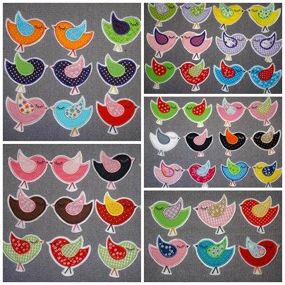 Vogel Aufnäher Applikation in 50 Farben
