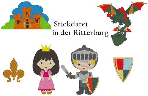 Ritter, Drache, Burg und Burgfräulein Stickdatei