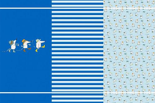 Maus Mäusetrio blau Streifen Panel Jersey Baumwolljersey Mäuse allover