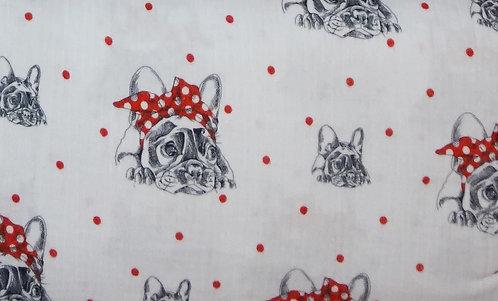 Musselin Bulldogge mit Schleife rot weiß schwarz FVJ Fräulein von Julie