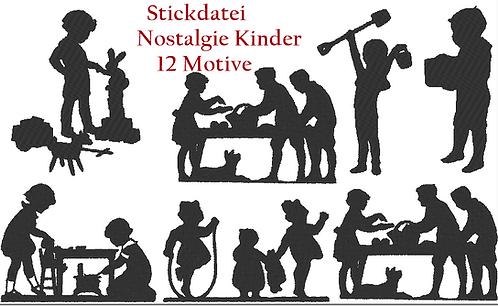 Nostalgie Kinder Silhouette Stickdatei Vol.1