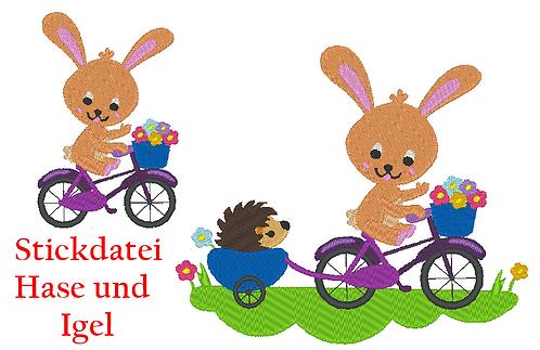 Hase und Igel auf dem Fahrrad Stickdatei