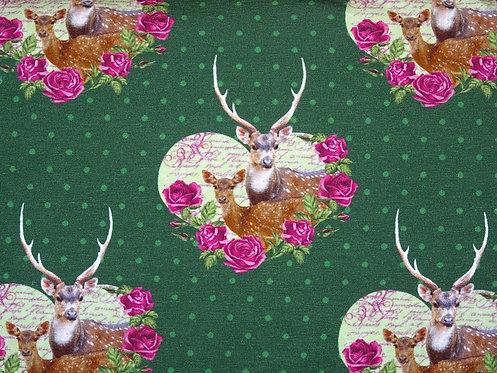 Hirsch im Rosen Herz Digitaldruck Trachtenblüte Jersey Meterware Baumwolljersey