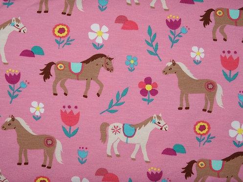Jersey Pferde rosa bunt Baumwolljersey Meterware Mädchen