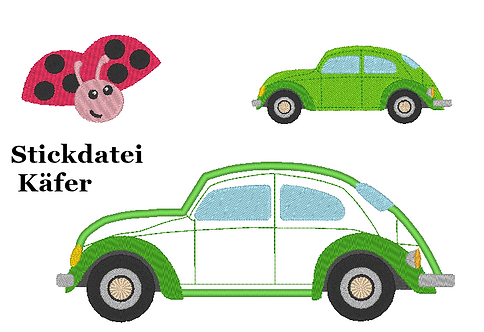 Auto Stickdatei Käfer inkl Kissen ITH