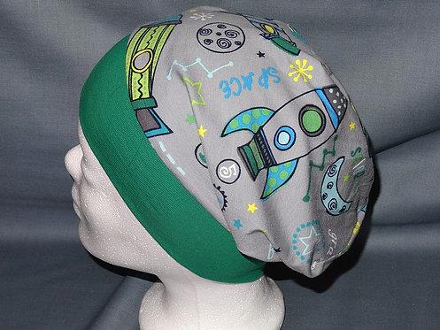 Beanie Rakete grün grau Mütze Handmade genäht Jersey