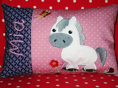 Pferd Namenskissen in Wunschfarbe