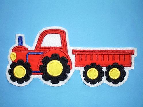Traktor mit Hänger Aufnäher rot