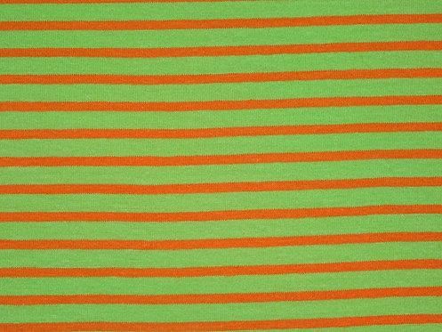 Jersey Streifen hellgrün orange Meterware gestreift Ringel