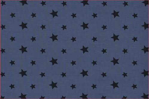 Sterne 1cm und 1,5cm graublau mit dunkelgrau Jersey Baumwolljersey Meterware