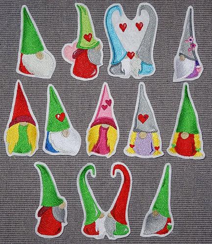 Zwerg Gnome Herz Applikation Aufnäher Patch grün rot Weihnachten Zwerge