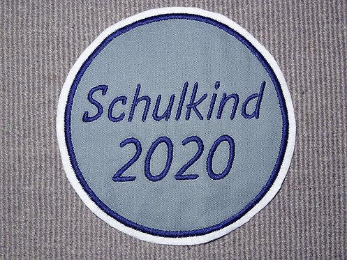8 - 20 cm Button Kreis Schulkind 2020 in Wunschfarbe Applikation Handmade Patch