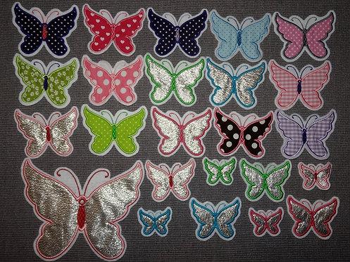 Glitzer Schmetterling Aufnäher in verschiedenen Farben
