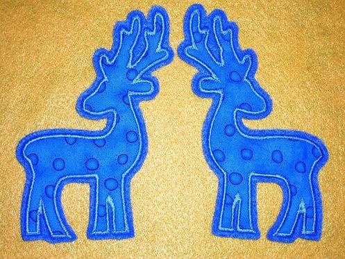 2 Hirsche in türkis Aufnäher