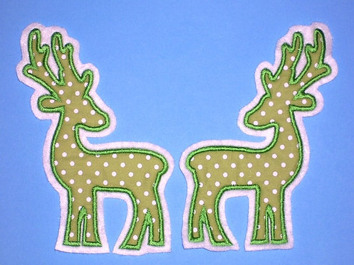 2 Hirsche in grün Aufnäher
