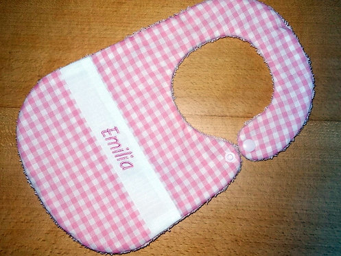 Lätzchen Karo rosa mit Name