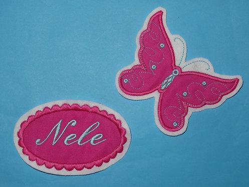 Schmetterling mit Namensbutton