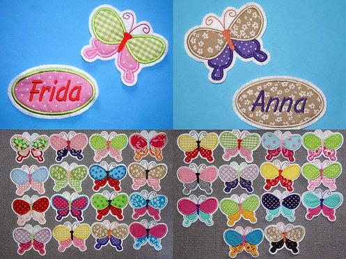 Namesbutton mit Schmetterling Aufnäher in 30 verschiedenen Farben