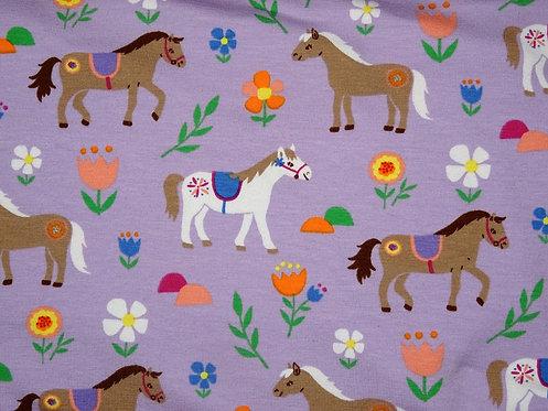 Jersey Pferde flieder bunt Baumwolljersey Meterware Mädchen