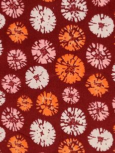 Feincord Cord mit Blumen auf bordeaux BW Meterware