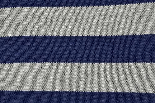 Strick Stoff Streifen Strickstoff Meterware dunkelblau grau