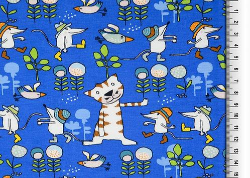 Katze und Maus + Vögel  Blumen blau Jersey Baumwolljersey Meterware