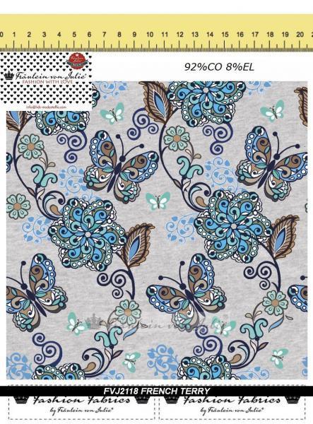 French Terry Damen Schmetterling grau Blume FVJ Baumwolljersey Jersey Meterware