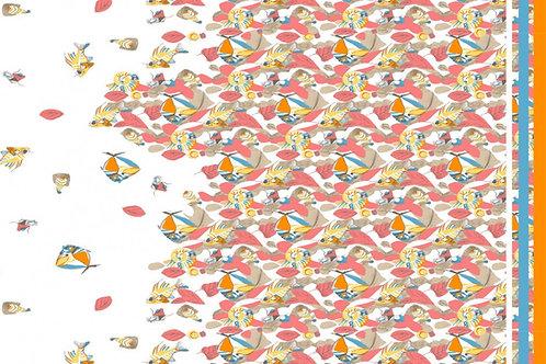 Stretch Elastic Satin Baumwolle mit Fischen orange  Meterware  Webware
