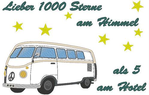 Camping Bus - Lieber 1000 Sterne am Himmel, Camping Stickdatei