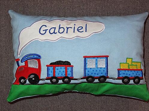 Namenskissen mit Lok Eisenbahn in Wunschfarbe