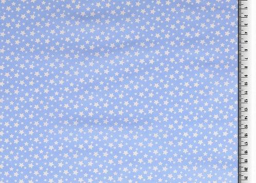 kleine Sterne weiß auf hellblau Baumwolle Meterware