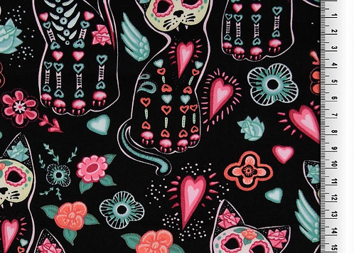 Katzen Skull rosa türkis auf schwarz  Baumwolle Meterware
