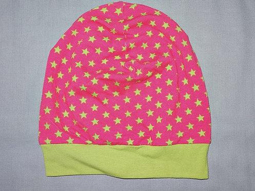 Beanie Sterne pink grün Mütze Handmade genäht Jersey Mädchen