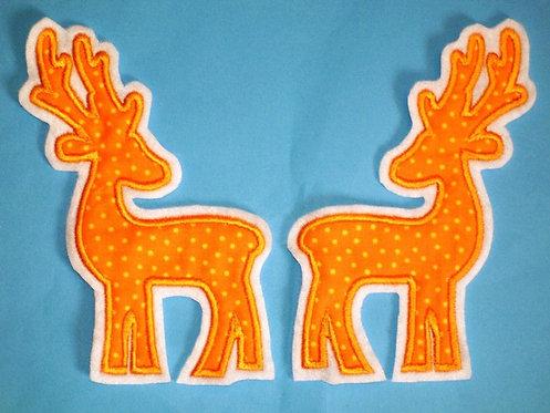 2 Hirsche in orange Aufnäher