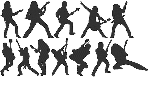 Rock Gitarre Silhouette Stickdatei