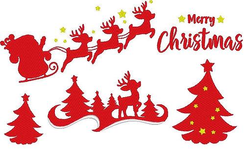 Weihnachten Reh Schlitten Silhouette Stickdatei Tanne