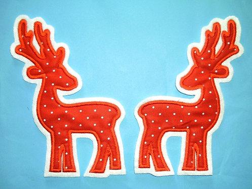 2 Hirsche in rot Aufnäher