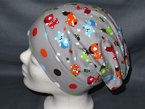 Beanie Fuchs bunt grau Mütze Tiere Handmade genäht Jersey