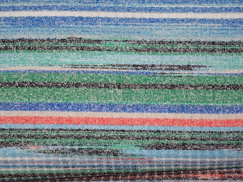 Strickstoff Streifen blau grün orange schwarz melange meliert Jersey Meterware