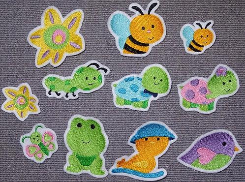Biene Vogel Blume Schildkröte Frosch Ente Raupe Schmetterling Appli Aufnäher