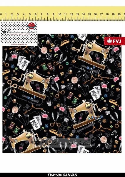 Canvas Nähmaschine auf schwarz nähen Garn DIY Fräulein von Julie Tasc