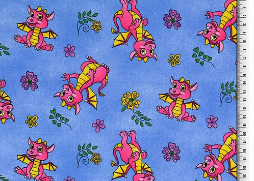 Drachen rosa auf blau  Baumwolle Meterware organic
